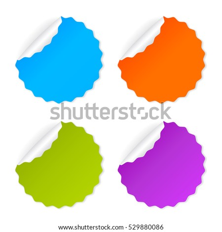 Round vector sticker set illustration isolated on white background. Sticker note papers. Blank vector post-it stickers.