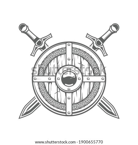 Round viking shield with celtic pattern and two crossed swords, medieval knight emblem with armor, vector Photo stock ©