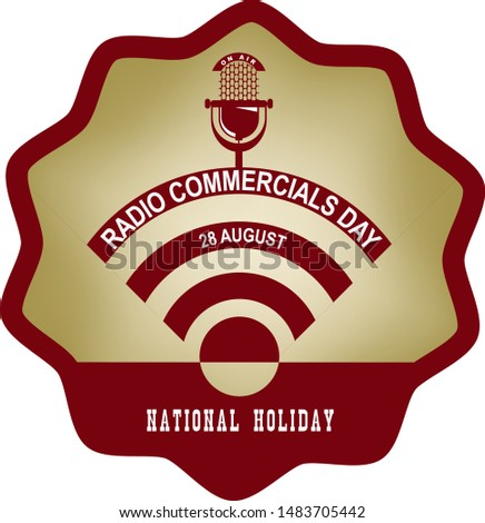 Round vintage label for the holiday Radio Commercials Day with broadcast symbol