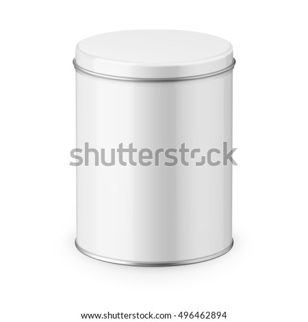 round white glossy tin can with