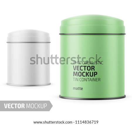 round white matte tin can with