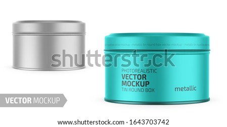 Round white metallic tin round box. Container for dry products - tea, coffee, sugar, cereals, candy. Photo-realistic packaging vector mockup template with sample design. Vector 3d illustration. Stock photo ©