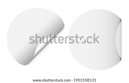 Round white sticker mockup. Circle stickers blank with curl corner, adhesive paper mock up. Circular post note sheet with fold, realistic sale sign element isolated. 3d banner template