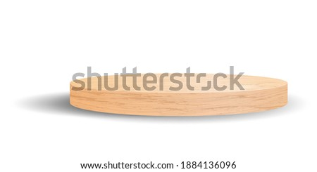 Round wooden podium or pedestal for showing product. Elegance luxury wood platform mockup. Stage showcase for cosmetic presentation or award ceremony. Empty product stand Foto stock ©