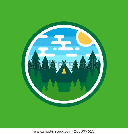Round woods badge camping illustration emblem logo design