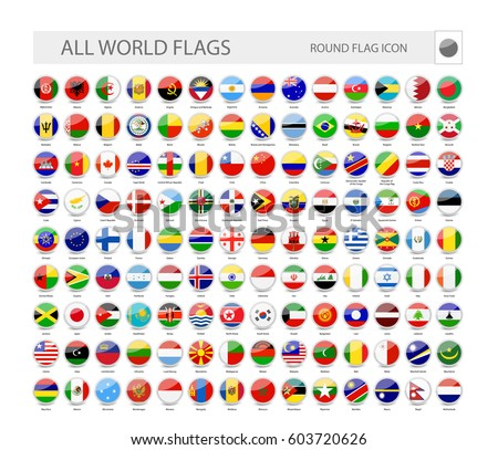Round World Flags Vector Collection. Part 1.