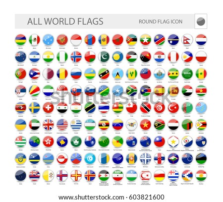 Round World Flags Vector Collection. Part 2.