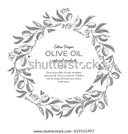Round wreath sketch composition with beautiful blooms and information in the center about olive oil hand drawing vector illustration