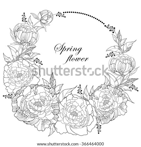 round wreath with seven peony
