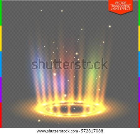 round yellow glow rays night