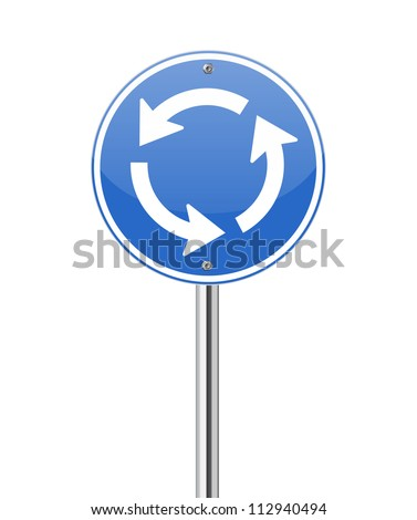 Roundabout crossroad road traffic sign on white