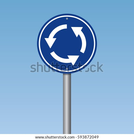 Roundabout Crossroad Traffic Road Sign Photo stock ©