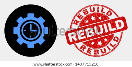 Rounded clock setup wheel icon and Rebuild seal stamp. Red round scratched seal with Rebuild text. Blue clock setup wheel icon on black circle. Vector composition for clock setup wheel in flat style.