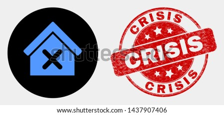 Rounded closed house icon and Crisis seal stamp. Red rounded grunge seal stamp with Crisis caption. Blue closed house icon on black circle. Vector composition for closed house in flat style.