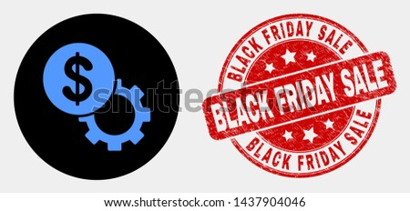 Rounded dollar setup gear pictogram and Black Friday Sale seal stamp. Red rounded textured seal stamp with Black Friday Sale text. Blue dollar setup gear symbol on black circle.