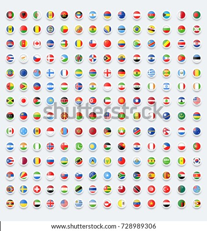 Rounded flags button. Country flags.