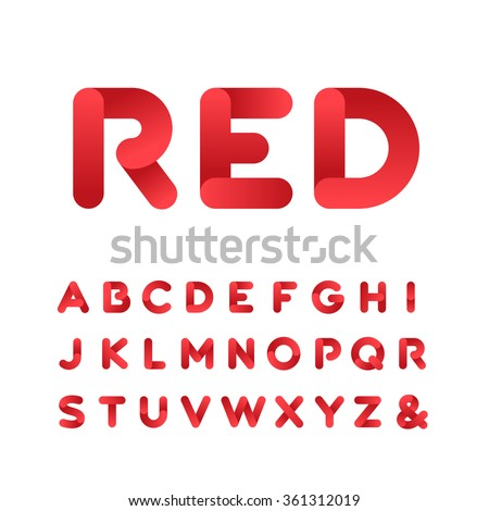 Rounded font. Vector alphabet with gradient effect letters.