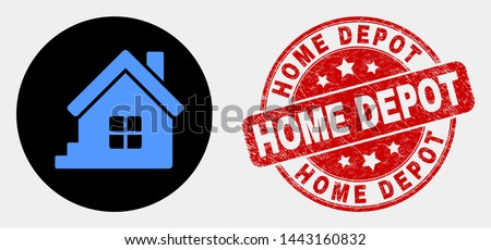 Rounded home icon and Home Depot seal stamp. Red round grunge seal stamp with Home Depot caption. Blue home icon on black circle. Vector combination in flat style.