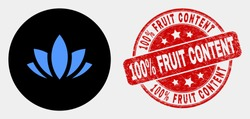 Rounded lotus icon and 100% Fruit Content watermark. Red rounded grunge watermark with 100% Fruit Content text. Blue lotus symbol on black circle. Vector combination for lotus in flat style.