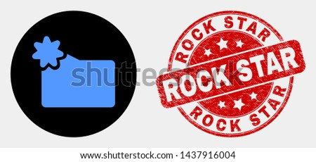 Rounded new folder icon and Rock Star seal. Red round grunge seal stamp with Rock Star text. Blue new folder icon on black circle. Vector combination for new folder in flat style.