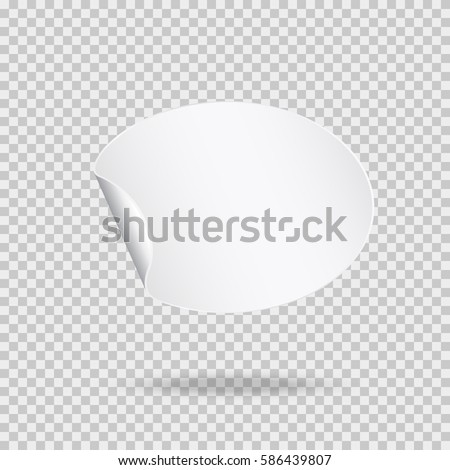 Rounded peel off paper sticker with shadow. Blank oval web banner or curl label with flip edge isolated on transparent background. Vector white post note for advertising design #586439807