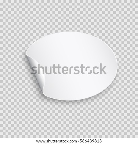 Rounded peel off paper sticker with shadow. Blank oval web banner or curl label with flip edge isolated on transparent background. Vector white post note for advertising design #586439813