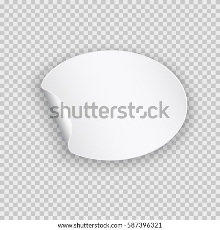 Rounded peel off paper sticker with shadow. Blank oval web banner or curl label with flip edge isolated on transparent background. Vector white post note for advertising design. #587396321
