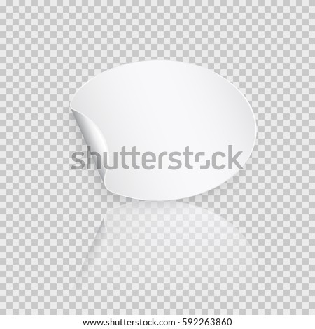 Rounded peel off paper sticker with shadow. Blank oval web banner or curl label with flip edge isolated on transparent background. Vector white post note for advertising design #592263860