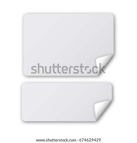 Rounded rectangle peel off papers with realistic shadow. Web banner template with curled corner. Vector illustration isolated on white background. #674629429