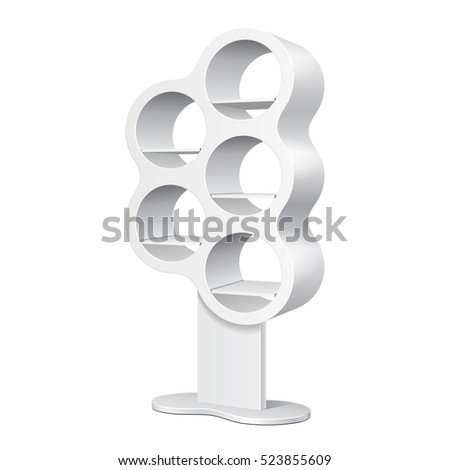 Rounded Retail Shelves Floor Display Rack For Supermarket Blank Empty Displays. Mock Up. 3D Illustration Isolated On White Background. Ready For Your Design. Product Advertising. Vector EPS10