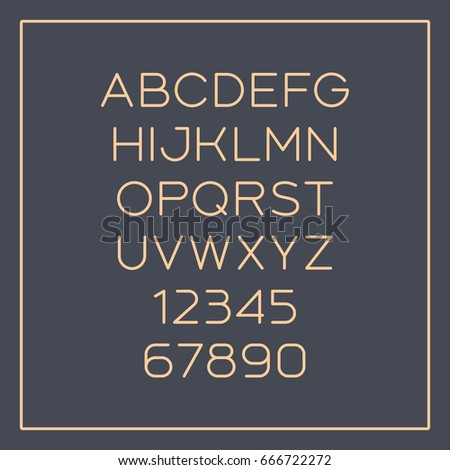 Rounded sans-serif font with elegant thin lines. Vector alphabet with latin letters and numbers