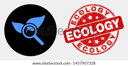 Rounded search flora plant icon and Ecology seal. Red rounded scratched seal with Ecology text. Blue search flora plant icon on black circle. Vector combination for search flora plant in flat style.