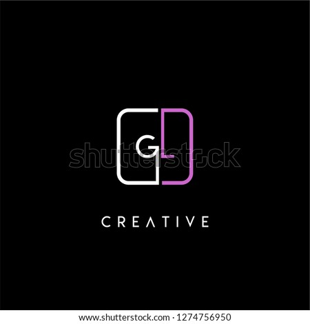 Rounded square gl logo letter design concept in pink and white colors Stok fotoğraf ©