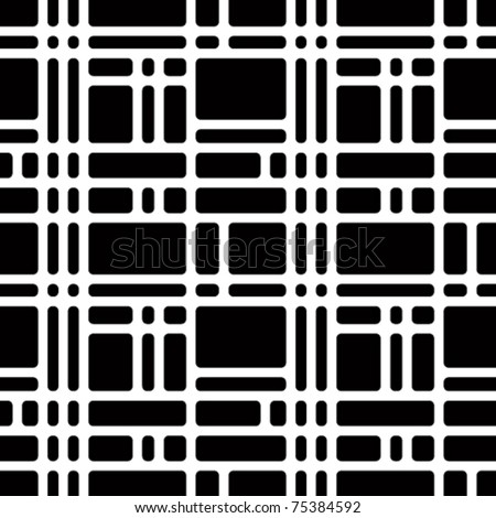 Rounded squares black and white seamless pattern. Geometric vector wallpaper or website background.