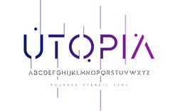 Rounded stencil san serif, alphabet, uppercase letters, typography. Vector illustration.