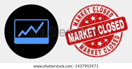 Rounded stocks chart icon and Market Closed seal stamp. Red rounded textured seal stamp with Market Closed text. Blue stocks chart symbol on black circle.