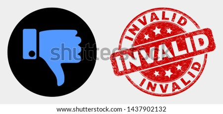 Rounded thumb down icon and Invalid seal stamp. Red round grunge seal stamp with Invalid caption. Blue thumb down icon on black circle. Vector composition for thumb down in flat style. Stockfoto ©