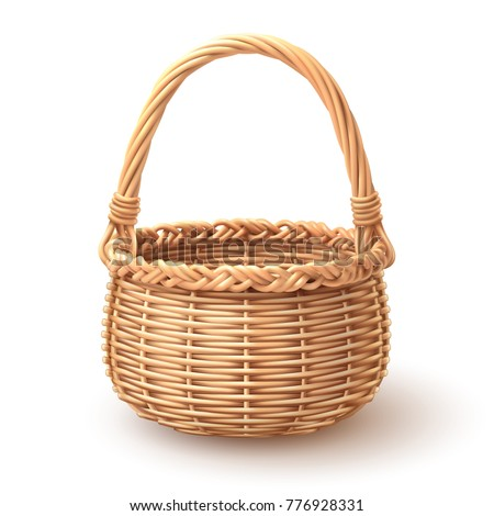 Rounded wooden Basket separate in layer, Easy to use and input artworks, vector art isolated on white.