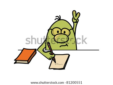 Roundy cartoon character answering the question and writing, vector illustration