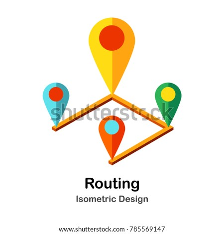 Route and Pin Isometric Illustration #785569147