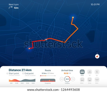 Route dashboard. City street map navigation, town running routes and gps tracking maps app. Navigate device or route navigator tracker mobile interface. Flat vector illustration