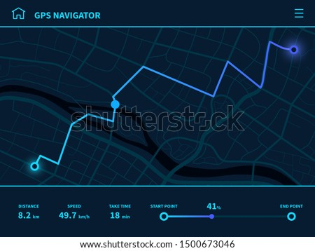 Route dashboard. Futuristic route UI, GPS tracking map navigator with city street, mobile interface mapping technology, vector running app sign track navigate design