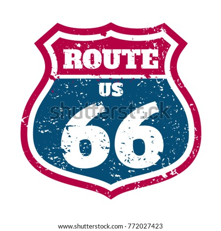 Route 66 Highway road sign grunge stump vector stock illustration. typography , t-shirt graphic print