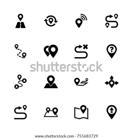Route icons - Expand to any size - Change to any colour. Flat Vector Icons - Black Illustration on White Background.