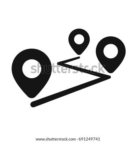 Route location icon, three map pin sign and road, journey symbol, one color vector illustration isolated on white background