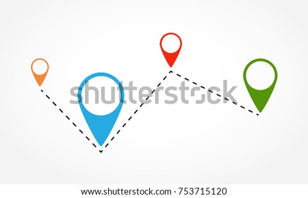 Route location icon. Vector illustration. Several colored map markers on the dotted line. #753715120