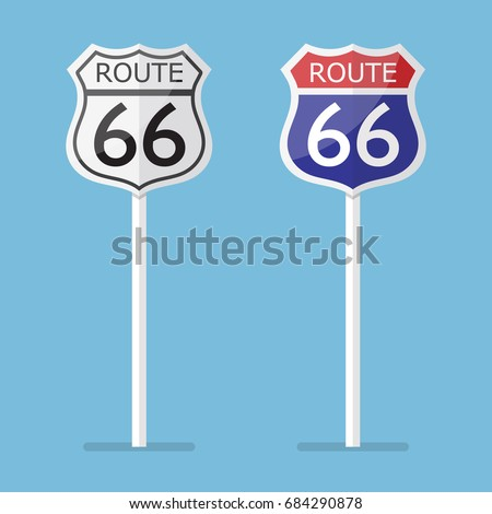 Route 66 road sign set. Vector illustration