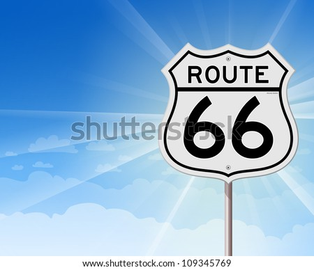 route 66 roadsign on blue sky   ...