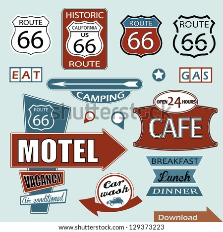 Route 66 sign. Symbol and Sticker