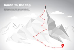 Route to the top of mountain: Concept of Goal, Mission, Vision, Career path, Vector concept Polygon dot connect line style